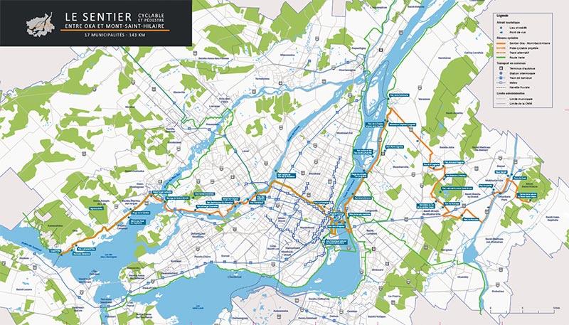 Carte sentier cyclable et pédestre entre Oka et Mont-Saint-Hilaire