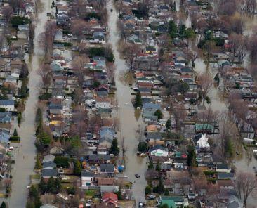 Quartier inondé en avril 2019 Grand Montréal